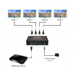 4K HDMI сплитер 1 към 4 за HDTV, DVD, PS3, Xbox