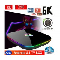 Мултимедиен плеър за гледане на безплатна ТВ и филми TV Box Q+, 4K, Android 8.1, Quadcore Cortex A53, SDRAM 4GB, FLASH 32GB, WiFi