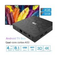 Мултимедиен плеър за гледане на безплатна ТВ и филми TV Box T9, 4K, Android 8.1, Quadcore Rockchip RK3328, SDRAM 4GB, FLASH 32GB, WiFi