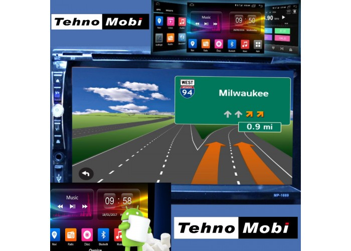 Double DIN MP-1669, Универсална, Android, Wi-fi, радио, GPS Навигация, MP3, USB, SD карта, Bluetooth