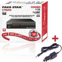 Цифров HD Приемник Paco Star CT6212 Combo, Комбиниран За Кабелна, Ефирна, IPTV Телевизия, 12V адаптер