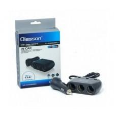 Разклонител за запалка Olesson 1680, 3 гнезда, 4 USB, Волтметър
