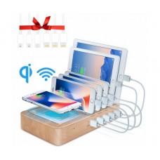 Мултифункционално USB зарядно устройство с Безжично зареждане, 5 USB, QI зареждане, GSM поставка