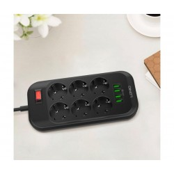 Разклонител с 6 гнезда и 4 USB порта за бързо зареждане LDNIO SE6403