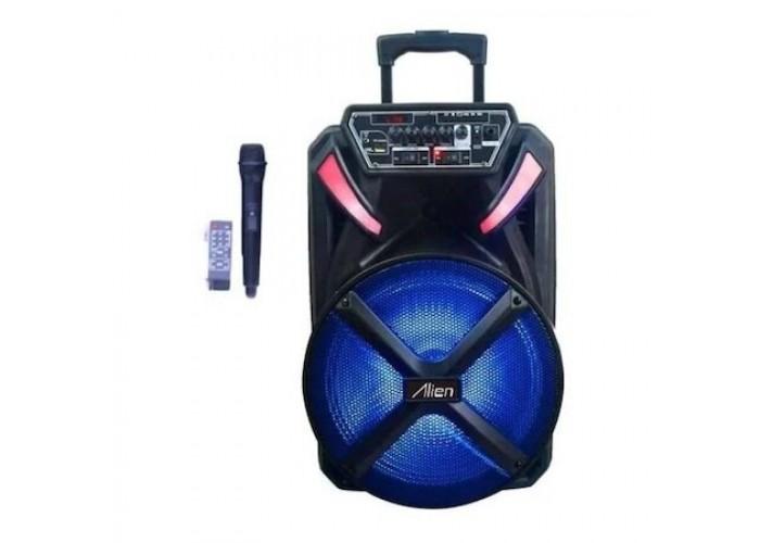 15 инча Караоке Тонколона Alien AN-1531, Един безжичен Микрофон, акумулаторна батерия, Bluetooth, FM радио, USB, micro SD
