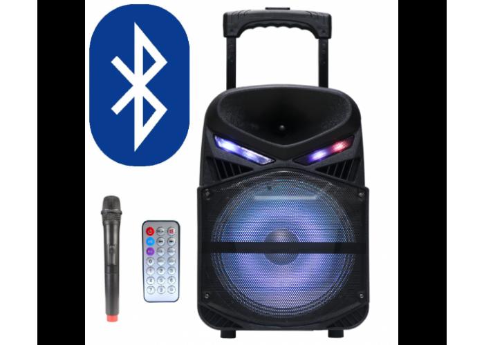 Караоке тонколона AVCrowns CH-1011, Вграден акумулатор, 10 инча, Bluetooth, MP3, SD, USB, FM Радио, Безжичен микрофон