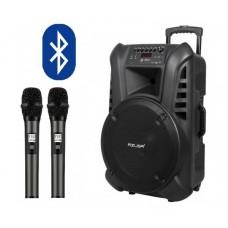 Караоке тонколона AZUSA Miko 145 , Вграден акумулатор, 15 инча, Bluetooth, MP3, SD, USB, FM Радио, Микрофони с дисплей