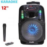 Караоке Тонколона Paudio PA-121, 12 инча, Безжичен Микрофон, акумулаторна батерия, Bluetooth, FM, USB, SD