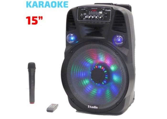 Караоке Тонколона Paudio PA-151, 15 инча, Безжичен Микрофон, акумулаторна батерия, Bluetooth, FM, USB, SD