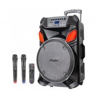Караоке Тонколона Zephyr Z-9999-B12, 12 инча, Вграден акумулатор, Bluetooth, MP3 Player, 2 безжични микрофона