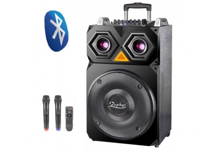 Караоке Тонколона Zephyr Z-9999-F15, 15 инча, Вграден акумулатор, Bluetooth, MP3 Player, 2 безжични микрофона