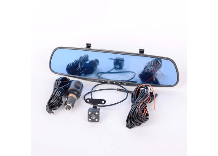 """Видeорегистратор в огледало за обратно виждане за автомобил, 4.5"""" Full HD дисплей, 1080P 170° предна камера, 1080P 150° задна широкоъгална камера, G-Sensor, нощно виждане"""