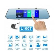 FULL HD видеорегистратор HD L1007 с камера за задно виждане, тип огледало, 7 инча
